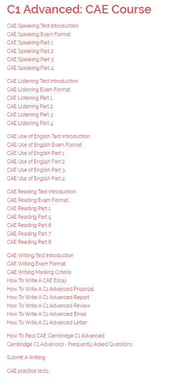 Cambridge English Course Contents